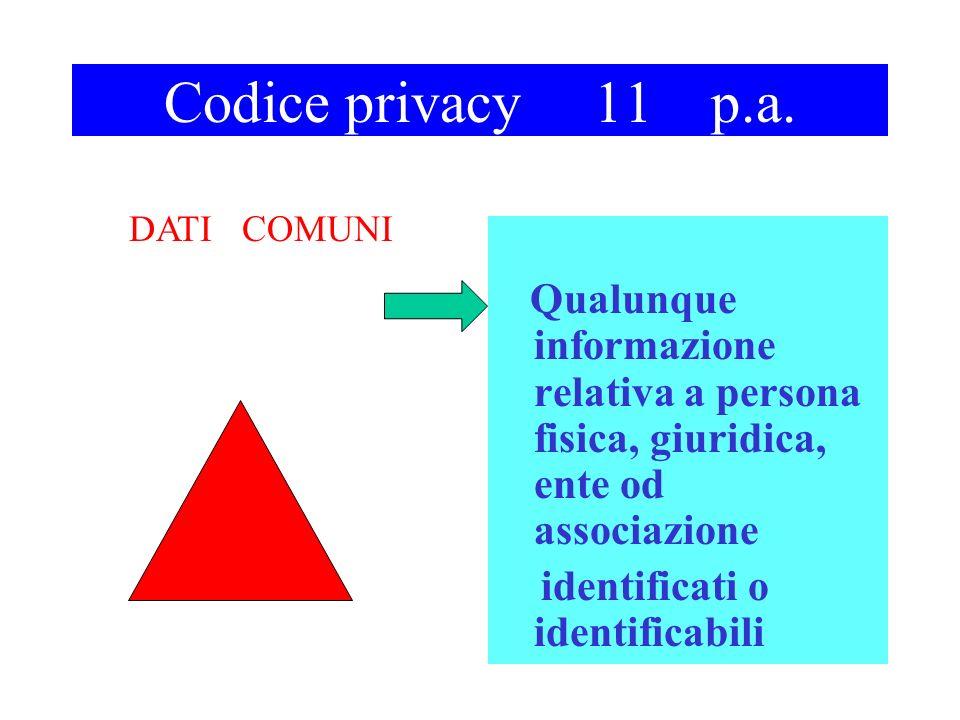 Codice privacy 11 p.a. Qualunque informazione relativa a persona fisica, giuridica, ente od associazione identificati o identificabili DATI COMUNI