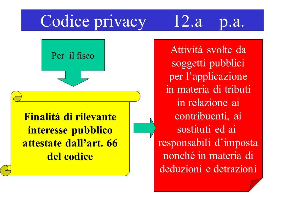 Codice privacy 12.a p.a. Finalità di rilevante interesse pubblico attestate dallart. 66 del codice Attività svolte da soggetti pubblici per lapplicazi