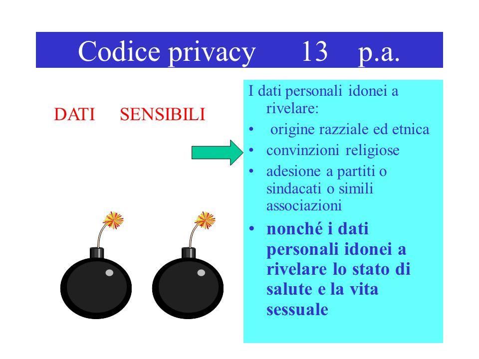 Codice privacy 13 p.a. I dati personali idonei a rivelare: origine razziale ed etnica convinzioni religiose adesione a partiti o sindacati o simili as