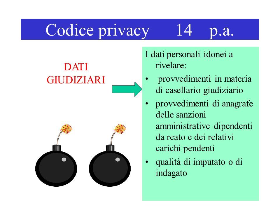 Codice privacy 14 p.a. I dati personali idonei a rivelare: provvedimenti in materia di casellario giudiziario provvedimenti di anagrafe delle sanzioni