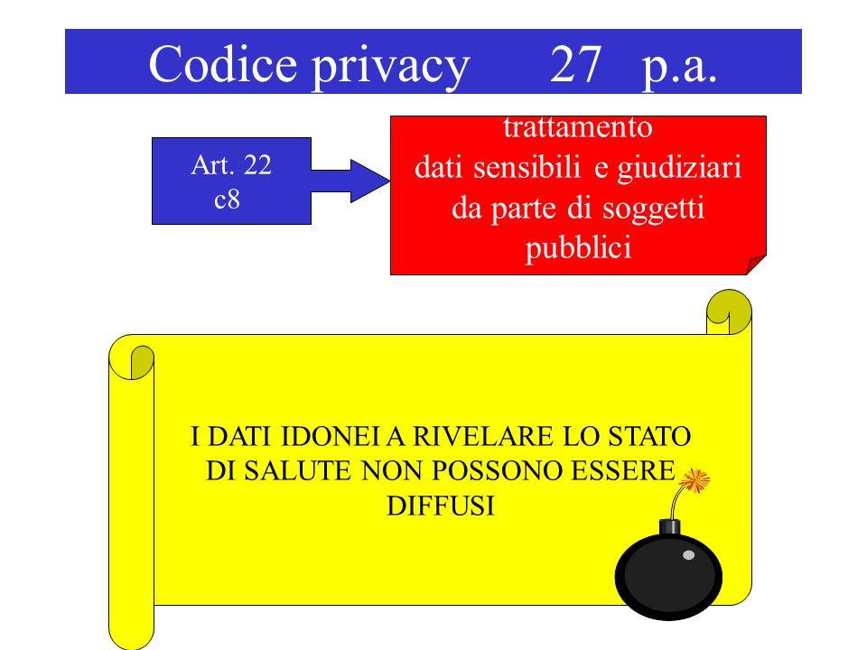 Codice privacy 27 p.a. trattamento dati sensibili e giudiziari da parte di soggetti pubblici Art. 22 c8 I DATI IDONEI A RIVELARE LO STATO DI SALUTE NO