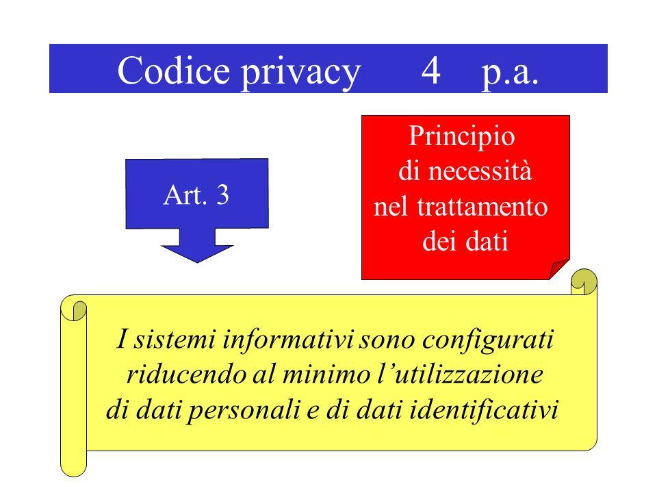 Codice privacy 4 p.a. Art. 3 I sistemi informativi sono configurati riducendo al minimo lutilizzazione di dati personali e di dati identificativi Prin