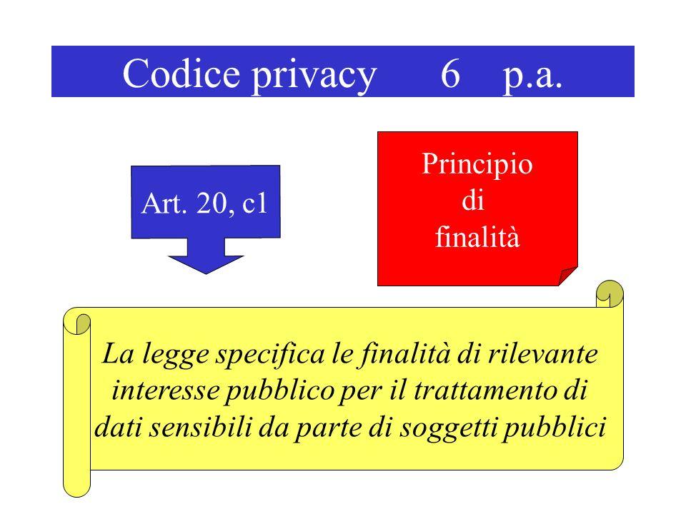 Codice privacy 6 p.a. Art. 20, c1 La legge specifica le finalità di rilevante interesse pubblico per il trattamento di dati sensibili da parte di sogg