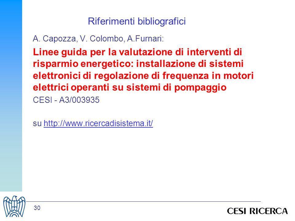 30 Riferimenti bibliografici A. Capozza, V. Colombo, A.Furnari: Linee guida per la valutazione di interventi di risparmio energetico: installazione di