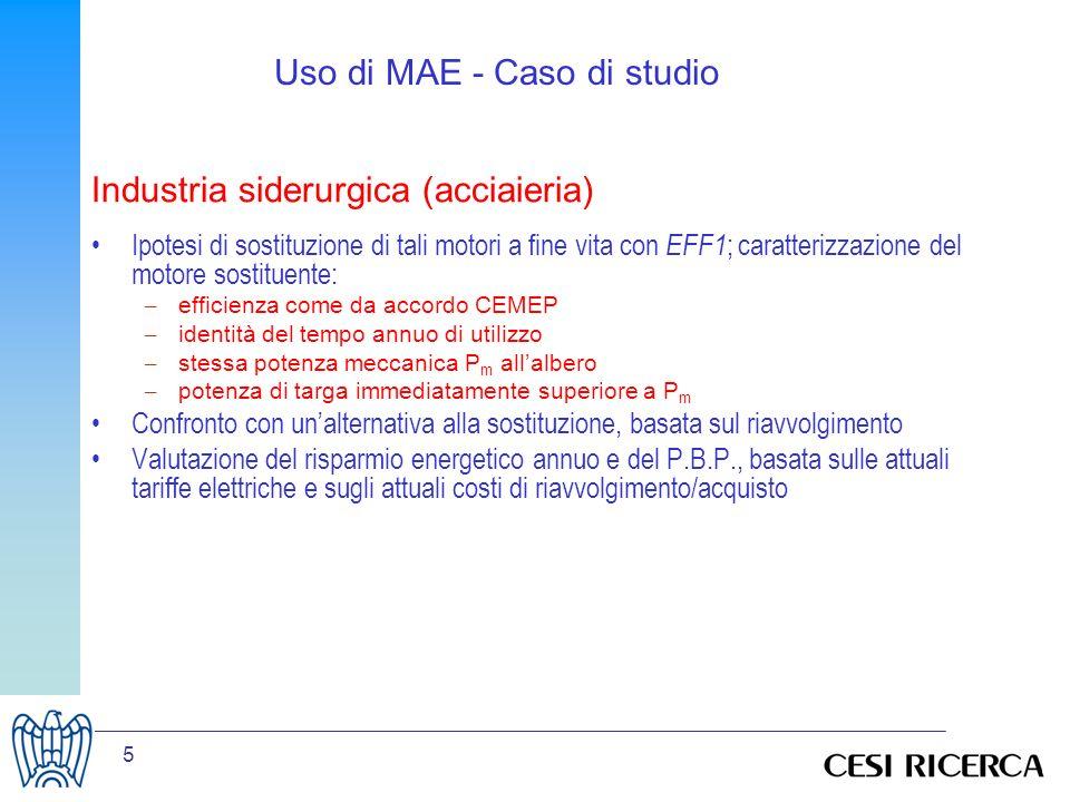 6 Uso di MAE - Caso di studio - da eff3 a eff2 Prima ID P n (kW) n.