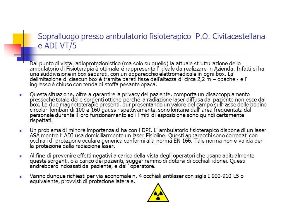 Sopralluogo presso ambulatorio fisioterapico P.O.