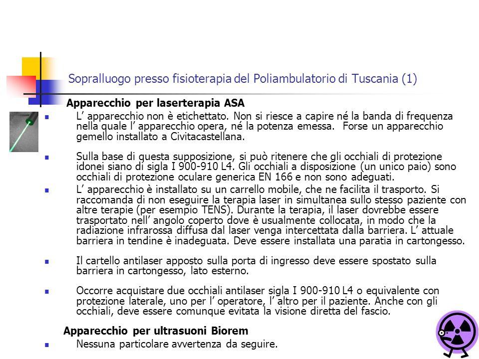 Sopralluogo presso fisioterapia del Poliambulatorio di Tuscania (1) Apparecchio per laserterapia ASA L apparecchio non è etichettato.