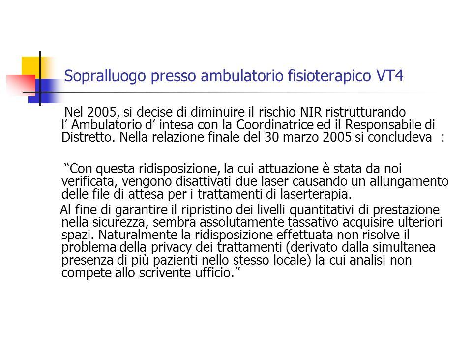 Sopralluogo presso ambulatorio fisioterapico VT4 Nel 2005, si decise di diminuire il rischio NIR ristrutturando l Ambulatorio d intesa con la Coordinatrice ed il Responsabile di Distretto.
