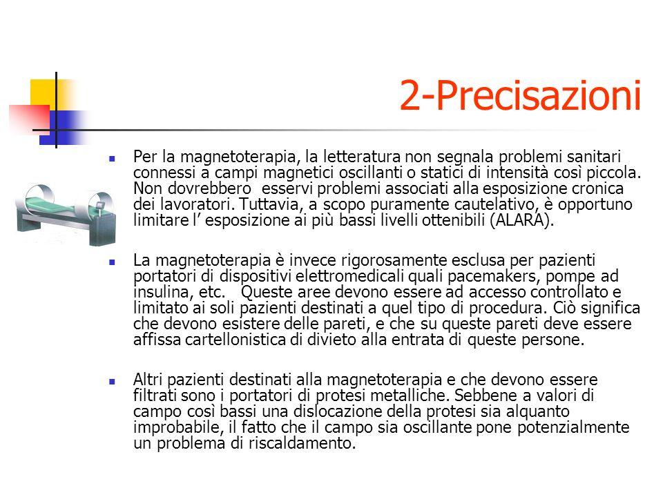 2-Precisazioni Per la magnetoterapia, la letteratura non segnala problemi sanitari connessi a campi magnetici oscillanti o statici di intensità così piccola.