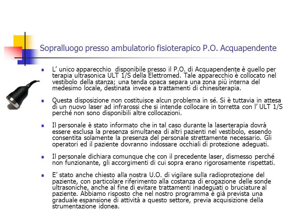 Sopralluogo presso ADI di Viterbo Gli apparecchi potenzialmente rilevanti ai fini di una valutazione del rischio sono: Apparecchio portatile per magnetoterapia marca Biorem, modello Supera.