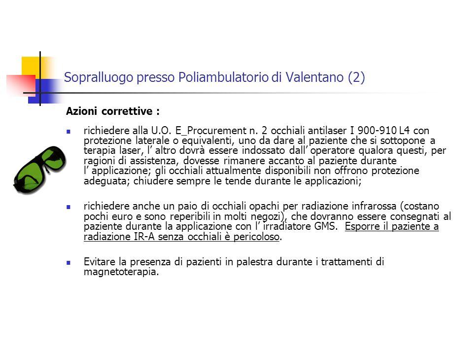 Sopralluogo presso Poliambulatorio di Valentano (2) Azioni correttive : richiedere alla U.O.