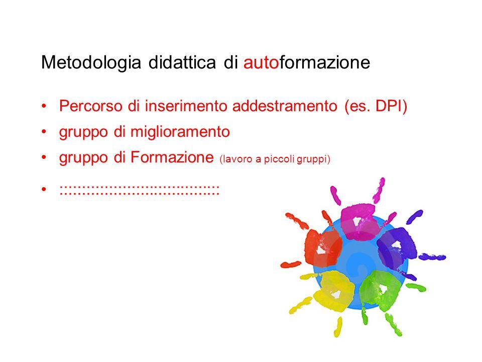 Metodologia didattica di autoformazione Percorso di inserimento addestramento (es. DPI) gruppo di miglioramento gruppo di Formazione (lavoro a piccoli