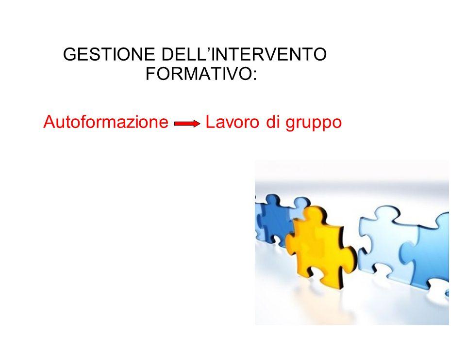 GESTIONE DELLINTERVENTO FORMATIVO: Autoformazione Lavoro di gruppo
