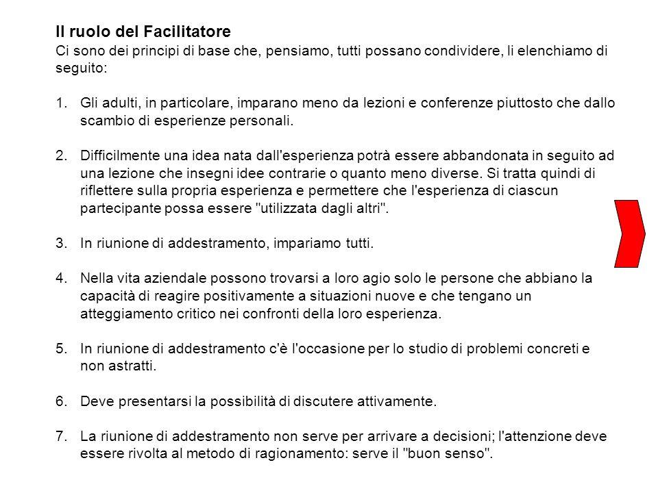 Il ruolo del Facilitatore Ci sono dei principi di base che, pensiamo, tutti possano condividere, li elenchiamo di seguito: 1.Gli adulti, in particolar