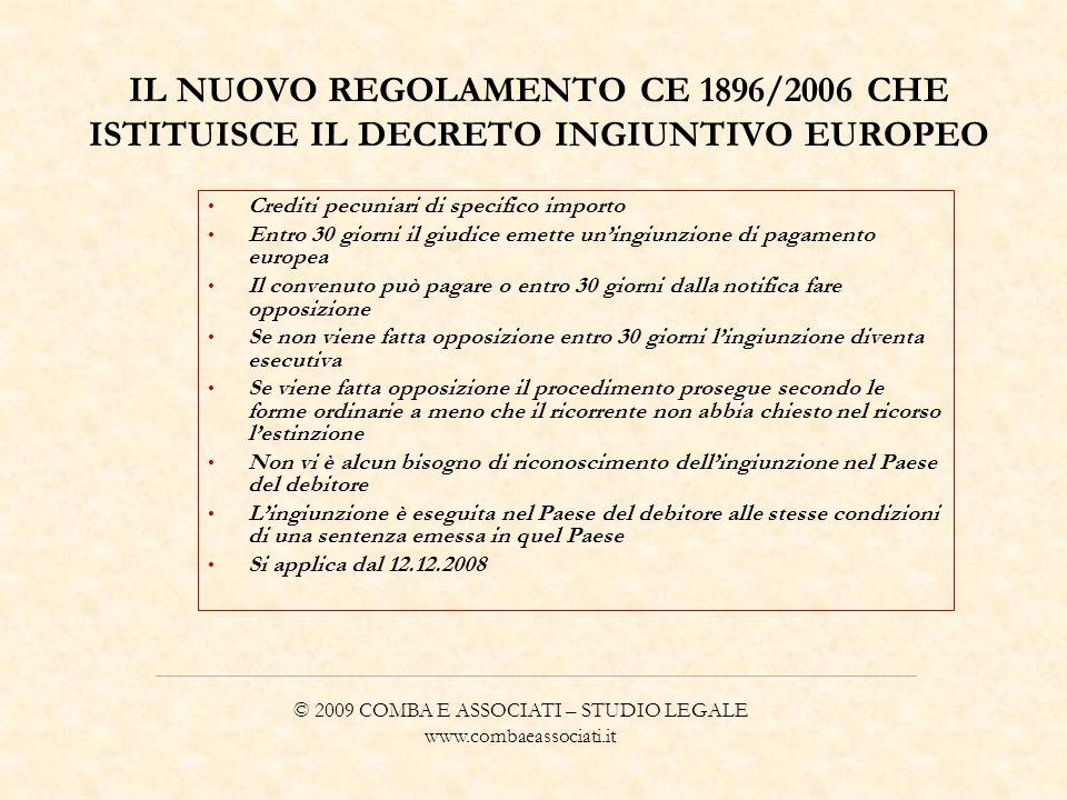 IL NUOVO REGOLAMENTO CE 1896/2006 CHE ISTITUISCE IL DECRETO INGIUNTIVO EUROPEO Crediti pecuniari di specifico importo Entro 30 giorni il giudice emett