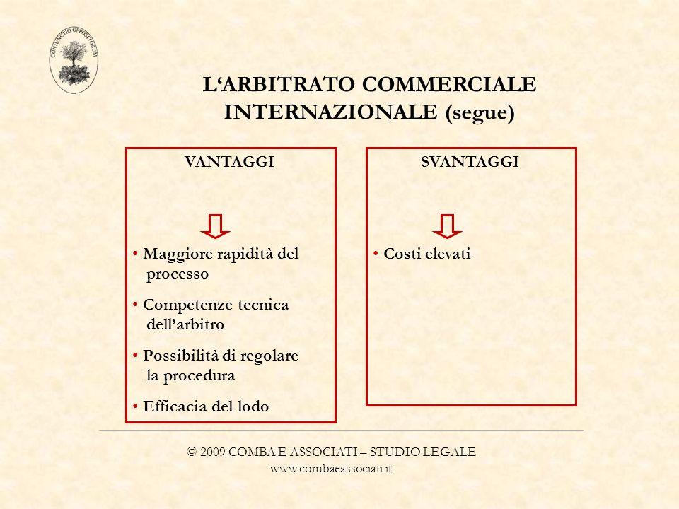 © 2009 COMBA E ASSOCIATI – STUDIO LEGALE www.combaeassociati.it LARBITRATO COMMERCIALE INTERNAZIONALE (segue) VANTAGGI Maggiore rapidità del processo