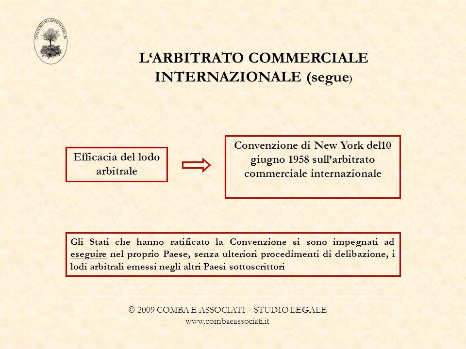 © 2009 COMBA E ASSOCIATI – STUDIO LEGALE www.combaeassociati.it LARBITRATO COMMERCIALE INTERNAZIONALE (segue ) Efficacia del lodo arbitrale Convenzion