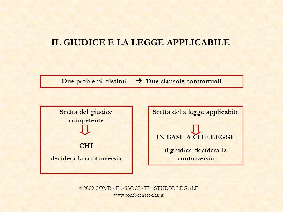 © 2009 COMBA E ASSOCIATI – STUDIO LEGALE www.combaeassociati.it IL GIUDICE E LA LEGGE APPLICABILE Due problemi distinti Due clausole contrattuali Scel