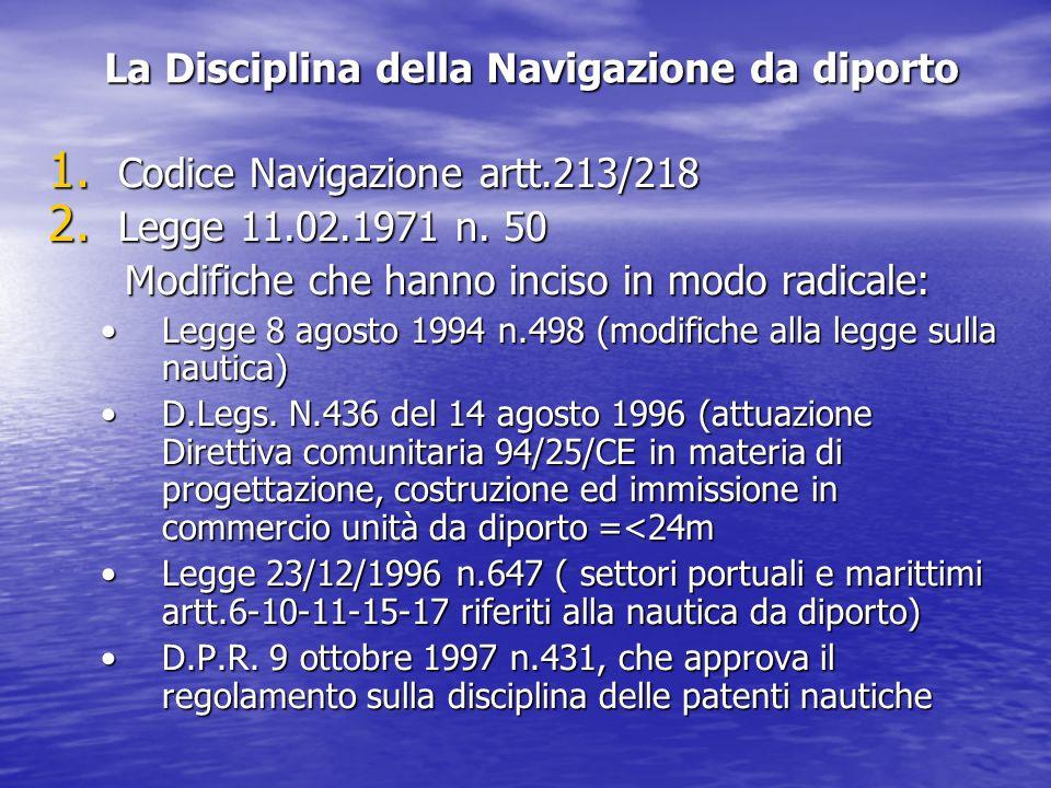 La Disciplina della Navigazione da diporto 1.Codice Navigazione artt.213/218 2.