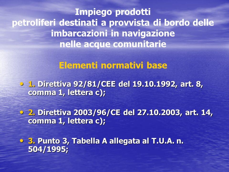 Impiego prodotti petroliferi destinati a provvista di bordo delle imbarcazioni in navigazione nelle acque comunitarie Elementi normativi base 1. Diret