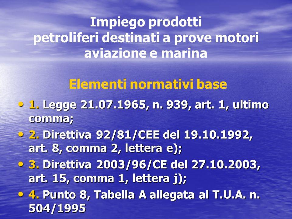 Impiego prodotti petroliferi destinati a prove motori aviazione e marina Elementi normativi base 1. Legge 21.07.1965, n. 939, art. 1, ultimo comma; 1.