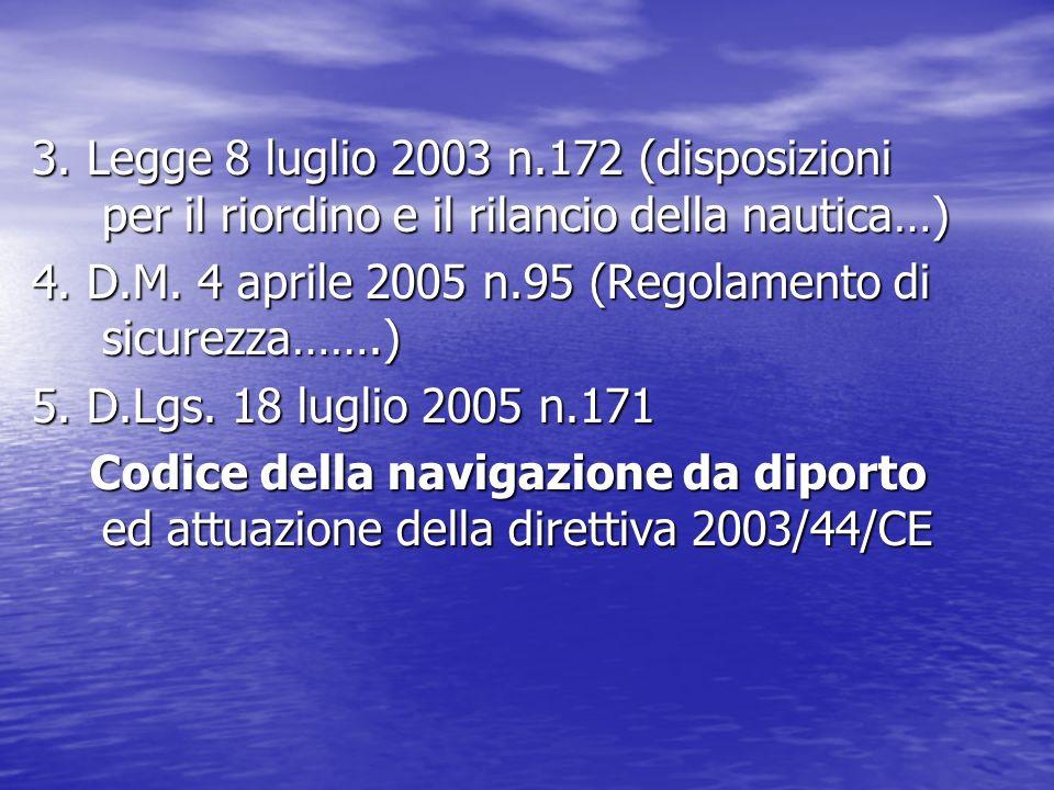 3. Legge 8 luglio 2003 n.172 (disposizioni per il riordino e il rilancio della nautica…) 4. D.M. 4 aprile 2005 n.95 (Regolamento di sicurezza…….) 5. D