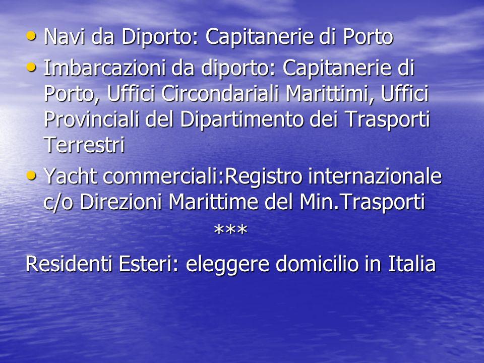 Navi da Diporto: Capitanerie di Porto Navi da Diporto: Capitanerie di Porto Imbarcazioni da diporto: Capitanerie di Porto, Uffici Circondariali Marittimi, Uffici Provinciali del Dipartimento dei Trasporti Terrestri Imbarcazioni da diporto: Capitanerie di Porto, Uffici Circondariali Marittimi, Uffici Provinciali del Dipartimento dei Trasporti Terrestri Yacht commerciali:Registro internazionale c/o Direzioni Marittime del Min.Trasporti Yacht commerciali:Registro internazionale c/o Direzioni Marittime del Min.Trasporti *** *** Residenti Esteri: eleggere domicilio in Italia