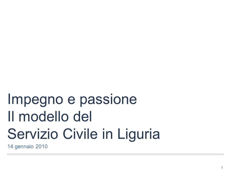 Impegno e passione Il modello del Servizio Civile in Liguria 14 gennaio 2010 1