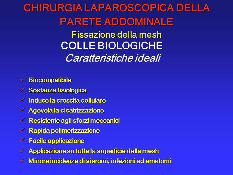 CHIRURGIA LAPAROSCOPICA DELLA PARETE ADDOMINALE Fissazione della mesh COLLE BIOLOGICHE Caratteristiche ideali Biocompatibile Biocompatibile Sostanza f