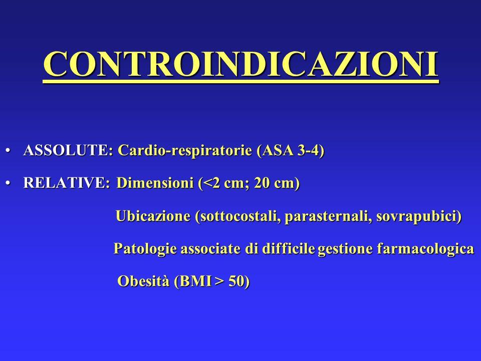 CONTROINDICAZIONI ASSOLUTE: Cardio-respiratorie (ASA 3-4)ASSOLUTE: Cardio-respiratorie (ASA 3-4) RELATIVE: Dimensioni (<2 cm; 20 cm)RELATIVE: Dimensio