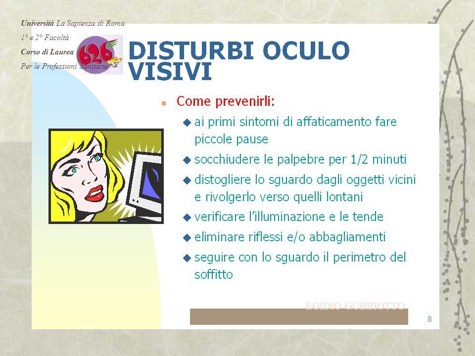 EGIDIO GUBBIOTTO Università La Sapienza di Roma 1° e 2° Facoltà Corso di Laurea Per le Professioni Sanitarie