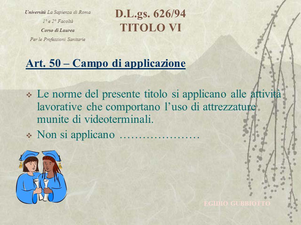 D.L.gs. 626/94 TITOLO VI Art.