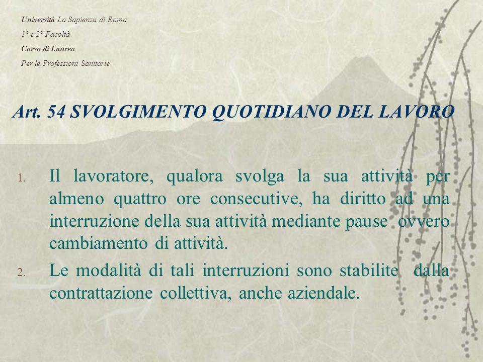 Art. 54 SVOLGIMENTO QUOTIDIANO DEL LAVORO 1.