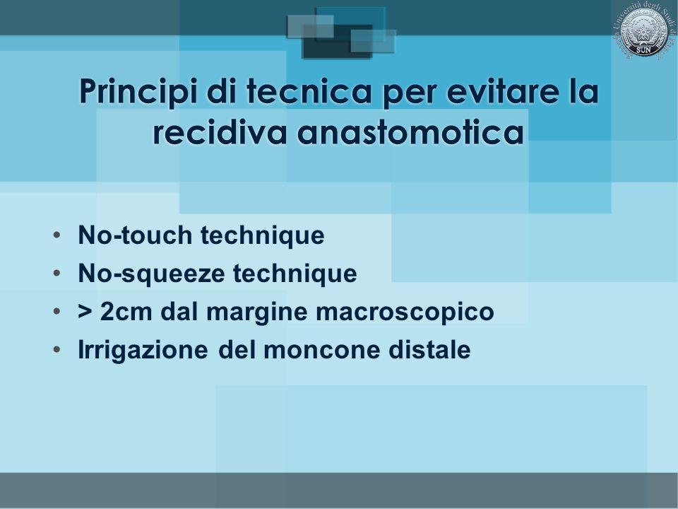 No-touch technique No-squeeze technique > 2cm dal margine macroscopico Irrigazione del moncone distale Principi di tecnica per evitare la recidiva ana