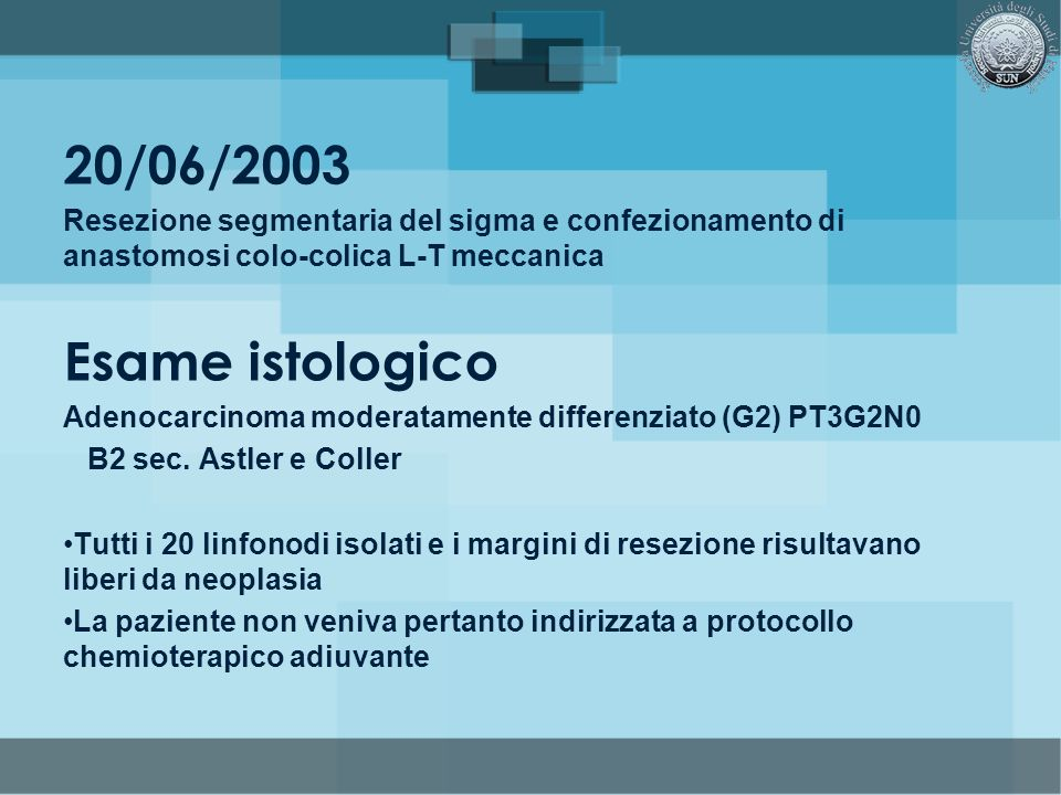 20/06/2003 Resezione segmentaria del sigma e confezionamento di anastomosi colo-colica L-T meccanica Esame istologico Adenocarcinoma moderatamente dif