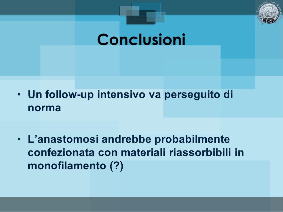 Conclusioni Un follow-up intensivo va perseguito di norma Lanastomosi andrebbe probabilmente confezionata con materiali riassorbibili in monofilamento