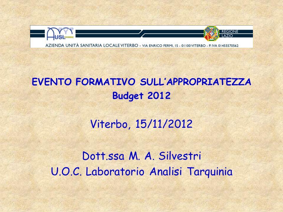 EVENTO FORMATIVO SULLAPPROPRIATEZZA Budget 2012 Viterbo, 15/11/2012 Dott.ssa M. A. Silvestri U.O.C. Laboratorio Analisi Tarquinia