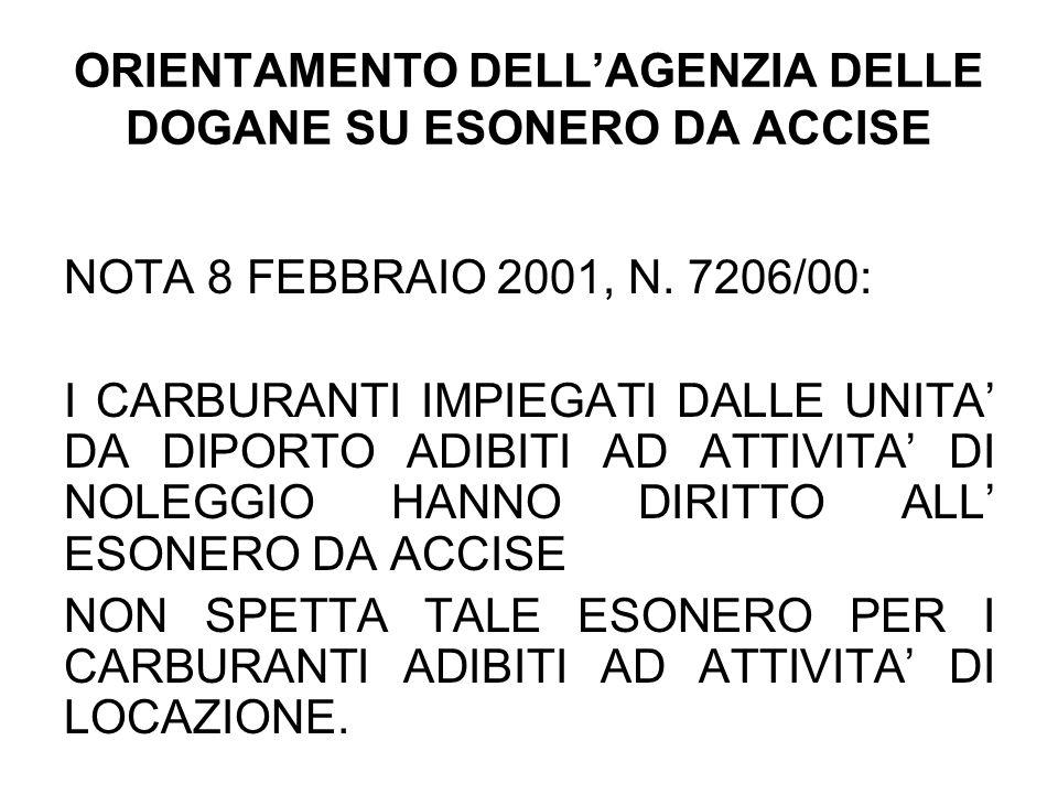 ORIENTAMENTO DELLAGENZIA DELLE DOGANE SU ESONERO DA ACCISE NOTA 8 FEBBRAIO 2001, N. 7206/00: I CARBURANTI IMPIEGATI DALLE UNITA DA DIPORTO ADIBITI AD