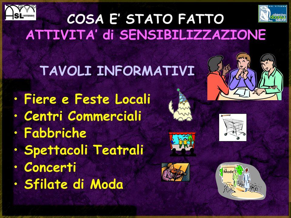 TAVOLI INFORMATIVI Fiere e Feste Locali Centri Commerciali Fabbriche Spettacoli Teatrali Concerti Sfilate di Moda