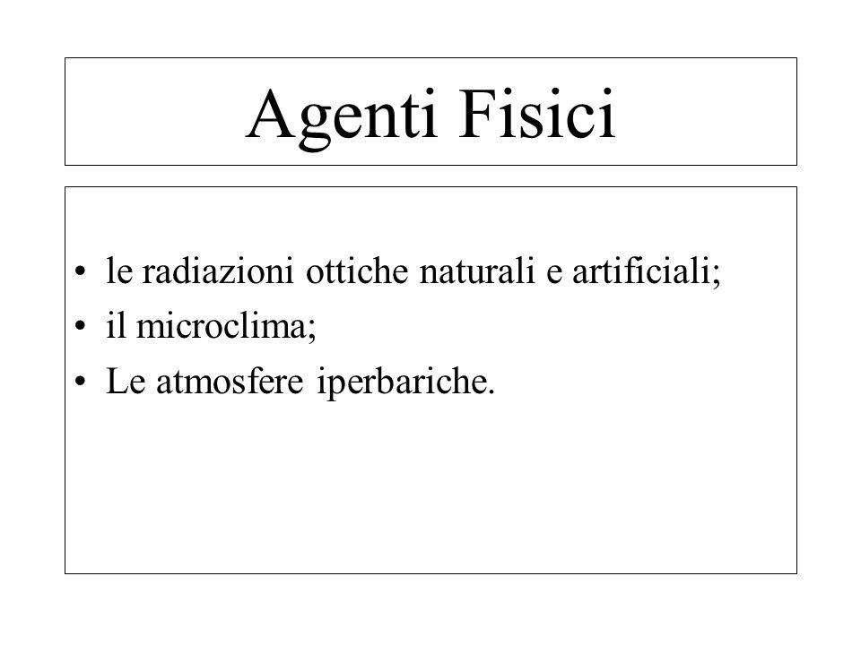 Microclima. Rumore. Radiazioni ionizzanti e ultraviolette. Illuminazione. Agenti Fisici