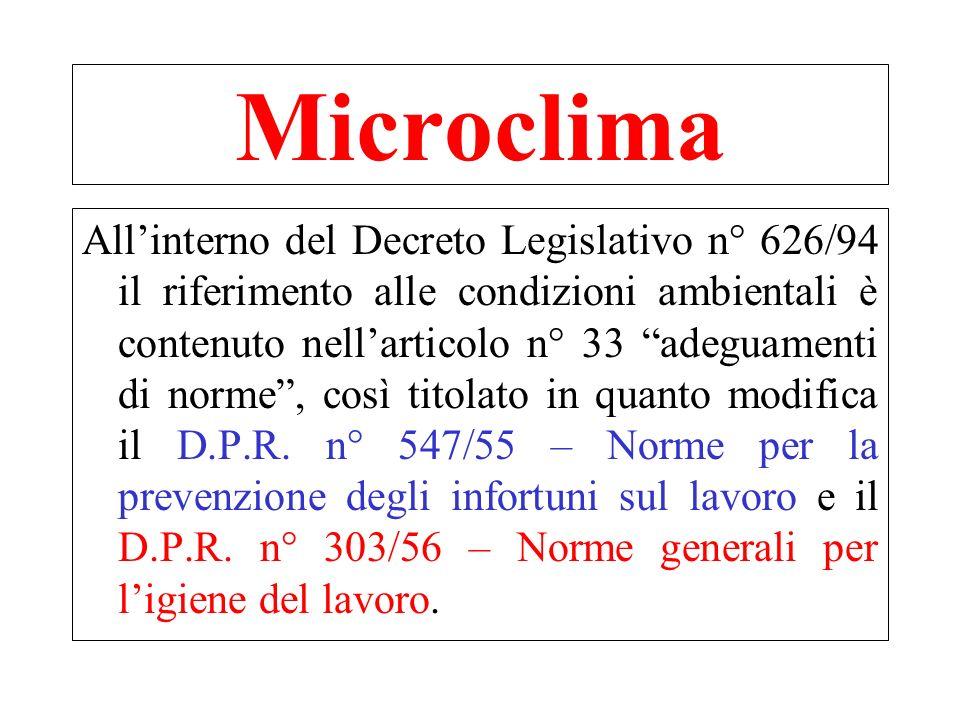 In particolare D.Lgs. N° 626/94 art.33 c.7 – temperatura dei locali; c.