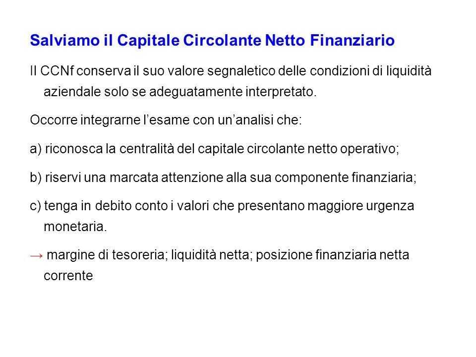 Salviamo il Capitale Circolante Netto Finanziario Il CCNf conserva il suo valore segnaletico delle condizioni di liquidità aziendale solo se adeguatam