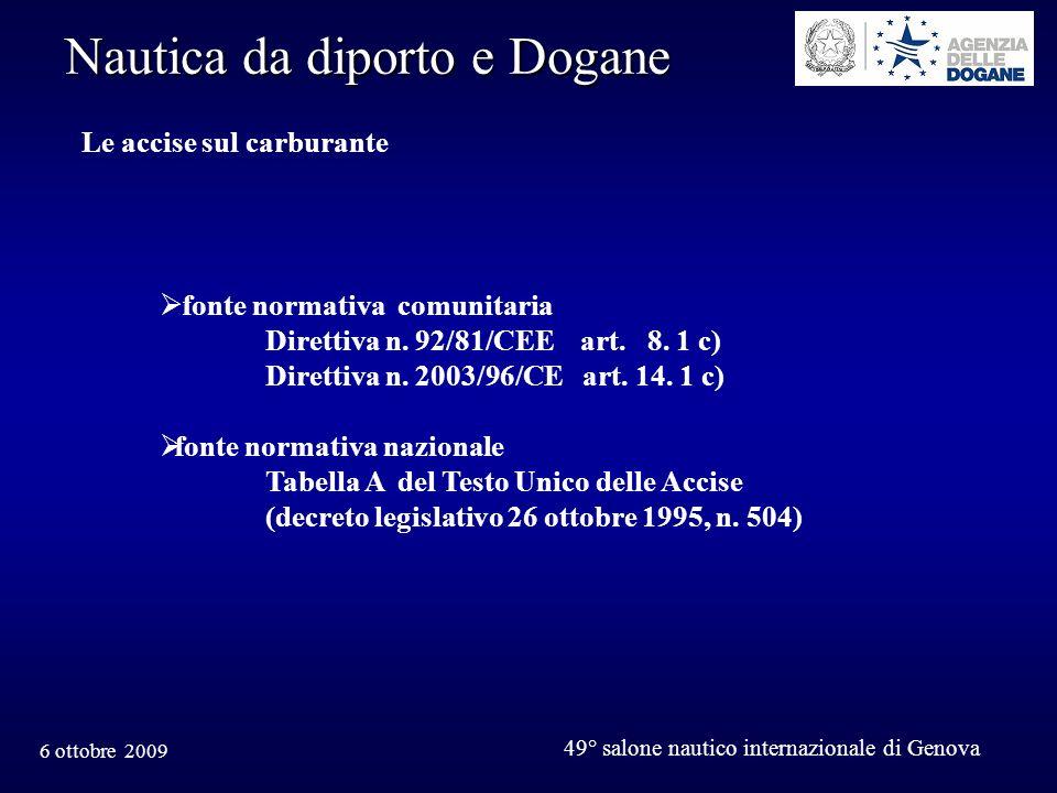 6 ottobre 2009 49° salone nautico internazionale di Genova Nautica da diporto e Dogane Le accise sul carburante fonte normativa comunitaria Direttiva n.