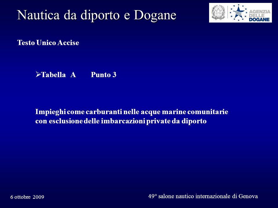 6 ottobre 2009 49° salone nautico internazionale di Genova Nautica da diporto e Dogane Testo Unico Accise Tabella A Punto 3 Impieghi come carburanti nelle acque marine comunitarie con esclusione delle imbarcazioni private da diporto