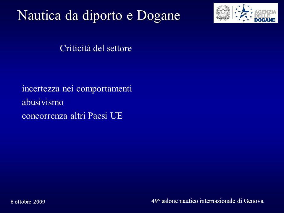6 ottobre 2009 49° salone nautico internazionale di Genova Nautica da diporto e Dogane Criticità del settore incertezza nei comportamenti abusivismo concorrenza altri Paesi UE