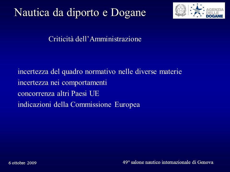 6 ottobre 2009 49° salone nautico internazionale di Genova Nautica da diporto e Dogane Criticità dellAmministrazione incertezza del quadro normativo nelle diverse materie incertezza nei comportamenti concorrenza altri Paesi UE indicazioni della Commissione Europea