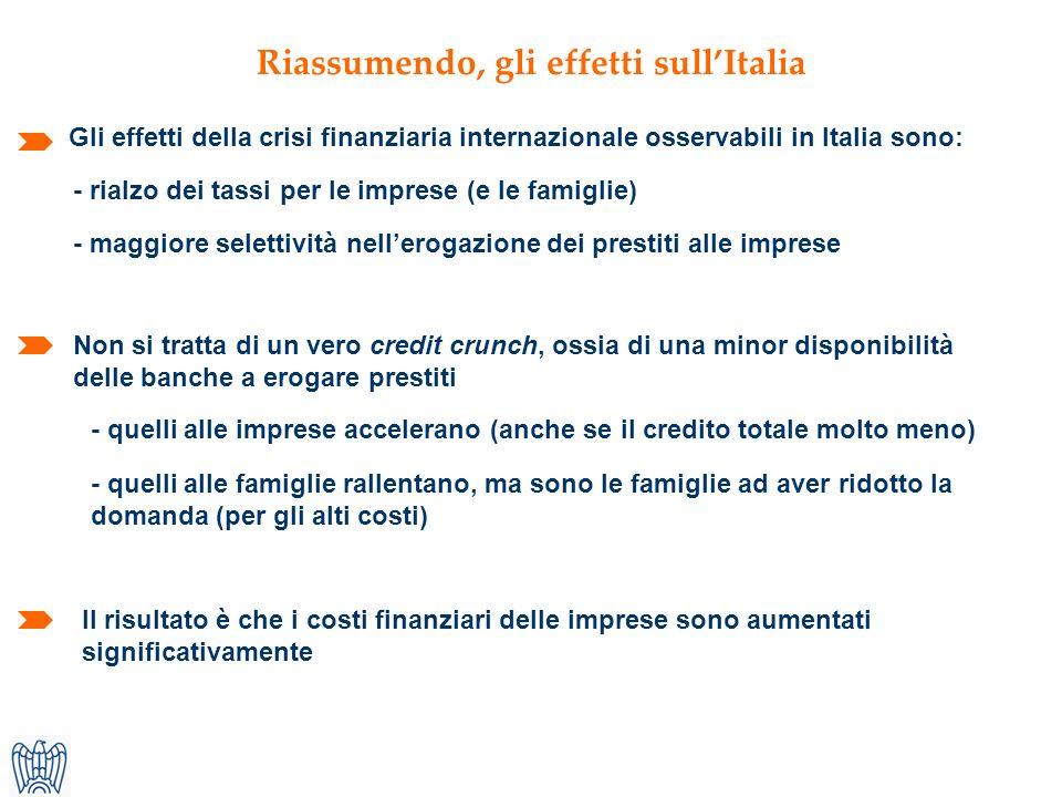 - rialzo dei tassi per le imprese (e le famiglie) Non si tratta di un vero credit crunch, ossia di una minor disponibilità delle banche a erogare prestiti Riassumendo, gli effetti sullItalia Gli effetti della crisi finanziaria internazionale osservabili in Italia sono: - maggiore selettività nellerogazione dei prestiti alle imprese - quelli alle imprese accelerano (anche se il credito totale molto meno) - quelli alle famiglie rallentano, ma sono le famiglie ad aver ridotto la domanda (per gli alti costi) Il risultato è che i costi finanziari delle imprese sono aumentati significativamente
