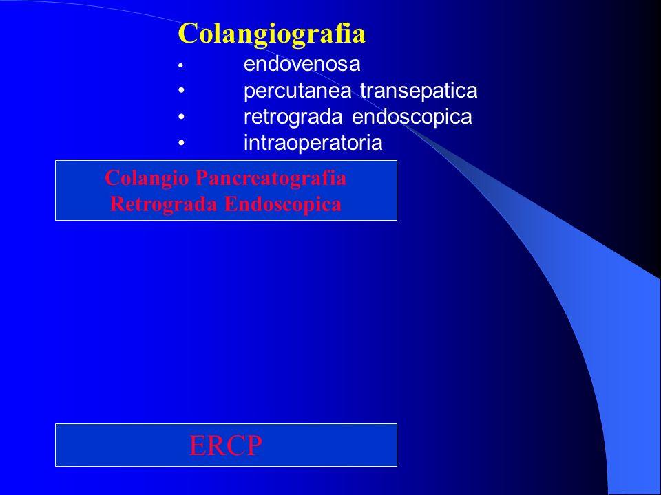 ERCP Colangio Pancreatografia Retrograda Endoscopica Colangiografia endovenosa percutanea transepatica retrograda endoscopica intraoperatoria