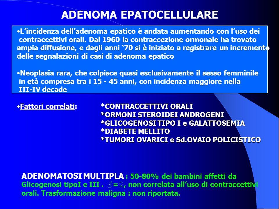ADENOMA EPATOCELLULARE Lincidenza delladenoma epatico è andata aumentando con luso dei contraccettivi orali. Dal 1960 la contraccezione ormonale ha tr