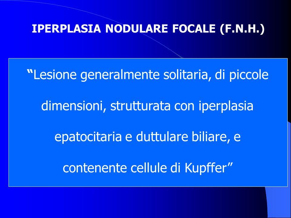 IPERPLASIA NODULARE FOCALE (F.N.H.) Lesione generalmente solitaria, di piccole dimensioni, strutturata con iperplasia epatocitaria e duttulare biliare
